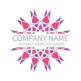 Logotipo abstrato do círculo da simetria Harmony Polygon Form Sinais e símbolos criativos Molde do Logotype Cor-de-rosa e roxo ilustração do vetor