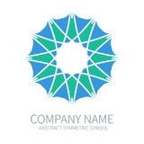 Logotipo abstrato do círculo da simetria Harmony Polygon Form Sinais e símbolos criativos Molde do Logotype Verde e azul ilustração stock