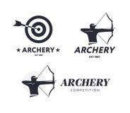 Logotipo abstrato do tiro ao arco Conceito do crachá do vetor Archer com curva e alvo do esporte com seta Competição do tiro ao a Fotografia de Stock Royalty Free