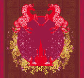 Logotipo abstrato dos cavalos e do castelo do vintage Imagem de Stock Royalty Free