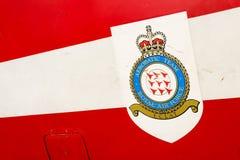 Logotipo aerobatic da equipe do Royal Air Force no avião do jato do T1 do falcão Foto de Stock