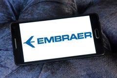 Logotipo aeroespacial de la compañía de Embraer fotografía de archivo libre de regalías