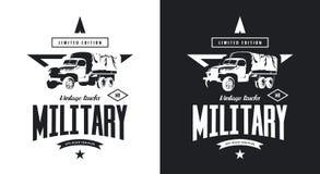 Logotipo aislado blanco y negro del vector del camión militar del vintage ilustración del vector
