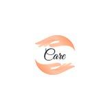 Logotipo aislado del cuidado de la mano Logotipo humano de las palmas Icono de Skincare Ilustración del vector ilustración del vector