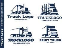 Logotipo ajustado com caminhão e reboque Fotos de Stock