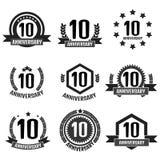 Logotipo ajustado do aniversário 10 Ilustração do vetor Imagens de Stock