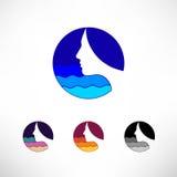 Logotipo ajustado do vetor do ícone do círculo A fêmea pensa o mar Fotografia de Stock