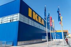Logotipo al aire libre de la tienda de IKEA fotografía de archivo libre de regalías
