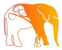 Logotipo alaranjado do elefante Imagens de Stock Royalty Free