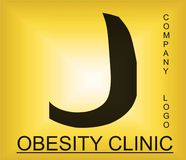 Logotipo alfab?tico del problema de la obesidad para la compa??a que proporciona soluciones imagen de archivo