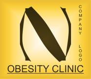 Logotipo alfab?tico del problema de la obesidad para la compa??a que proporciona soluciones fotografía de archivo libre de regalías