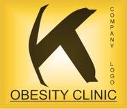 Logotipo alfab?tico del problema de la obesidad para la compa??a que proporciona soluciones imágenes de archivo libres de regalías