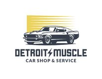 Logotipo americano del vector del coche del músculo stock de ilustración