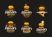 Logotipo americano do alimento Hamburguer, cheeseburger, ícone do Hamburger ou etiqueta Ilustração do vetor ilustração do vetor