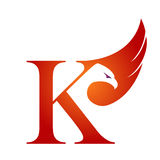 Logotipo anaranjado de Hawk Initial K del vector foto de archivo libre de regalías