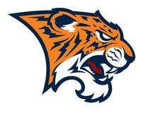 Logotipo animal del ejemplo del vector de la cabeza de la mascota del tigre stock de ilustración