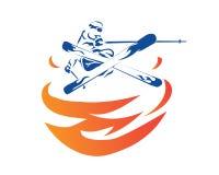 Logotipo apasionado de Ski Player Jump Technique Athlete de los deportes de invierno Fotografía de archivo