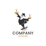 Logotipo asiático del servicio de entrega de la comida, diseño de la mascota Fotografía de archivo