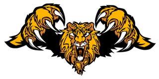 Logotipo atacando do vetor da mascote do leão Imagens de Stock