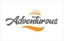 logotipo aventuroso do projeto da tipografia do texto da palavra da escrita da mão preta ilustração stock