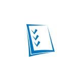 logotipo azul abstracto del contorno de la lista de control del color en el fondo blanco Foto de archivo libre de regalías