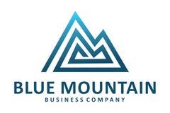Logotipo azul da montanha Fotografia de Stock Royalty Free