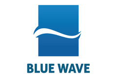 Logotipo azul da onda Foto de Stock Royalty Free