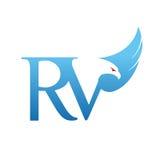 Logotipo azul de Hawk Initial rv del vector Foto de archivo libre de regalías