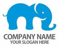 Logotipo azul de la silueta del elefante Foto de archivo