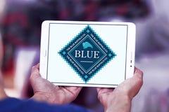 Logotipo azul del alimento para animales del búfalo Fotos de archivo