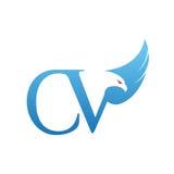 Logotipo azul del CV de Hawk Initial del vector Imagen de archivo libre de regalías