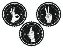 Logotipo blanco y negro con las muestras de las manos interiores y la textura del granero Fotos de archivo libres de regalías