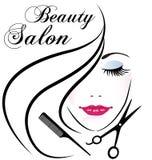 Logotipo bonito de la cara del pelo de la mujer del salón de belleza stock de ilustración