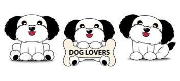 Logotipo bonito dos desenhos animados do cão 3 com ilustração do vetor da etiqueta Fotografia de Stock Royalty Free