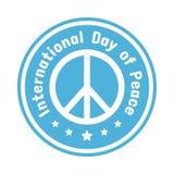 Logotipo branco para o dia internacional da paz no fundo azul, vetor ilustração royalty free