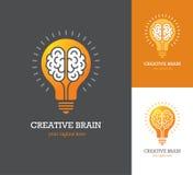 Logotipo brillante con el icono linear del cerebro dentro de una bombilla stock de ilustración