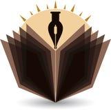 Logotipo brillante de la pluma y del libro ilustración del vector