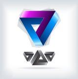 Logotipo brillante del triángulo icono Fotos de archivo libres de regalías