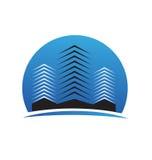 Logotipo céntrico de los edificios de las propiedades inmobiliarias Imagen de archivo libre de regalías
