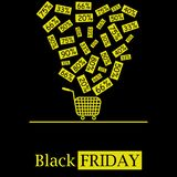 Logotipo caliente negro del icono del vector del concepto de las ventas de viernes con descuentos descendentes y el carro de la c libre illustration