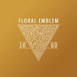 Logotipo caligráfico del triángulo Líneas ornamento del oro de la etiqueta Diseño adornado de la tarjeta de felicitación del vint stock de ilustración