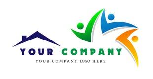 Logotipo casero de la gente junto, unión de la gente en el logotipo del equipo de la casa, concepto del trabajo de grupo para el  libre illustration