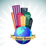 Logotipo casero dulce del mundo, vector Imágenes de archivo libres de regalías