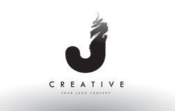 Logotipo cepillado J de la letra Diseño de letras negro del cepillo con el str del cepillo Fotos de archivo