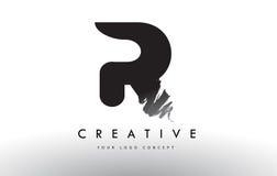 Logotipo cepillado R de la letra Diseño de letras negro del cepillo con el str del cepillo Imágenes de archivo libres de regalías
