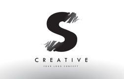 Logotipo cepillado S de la letra Diseño de letras negro del cepillo con el str del cepillo Fotos de archivo