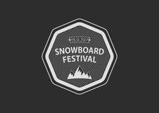 Logotipo circular del vintage de la snowboard, plano Fotografía de archivo