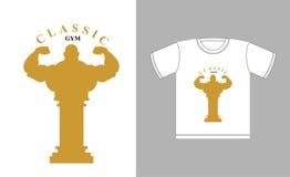 Logotipo clásico del gimnasio Silueta y un griego clásico co del culturista Imágenes de archivo libres de regalías