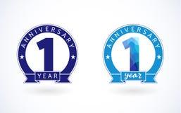 Logotipo coloreado azul de 1 año del cristal de colores ilustración del vector