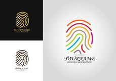 Logotipo coloreado huella dactilar foto de archivo